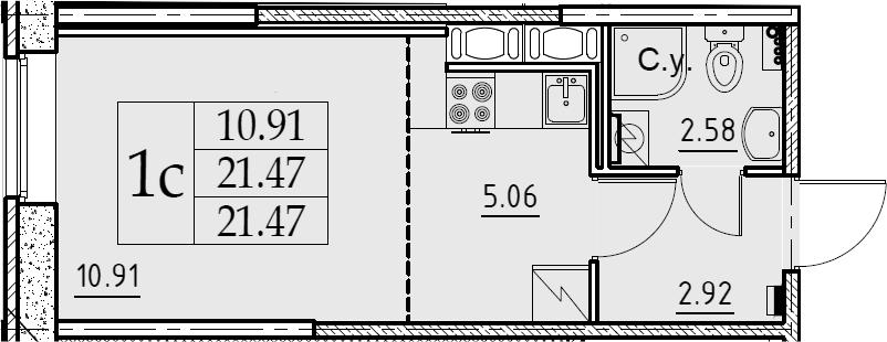 Студия, 21.47 м², 1 этаж
