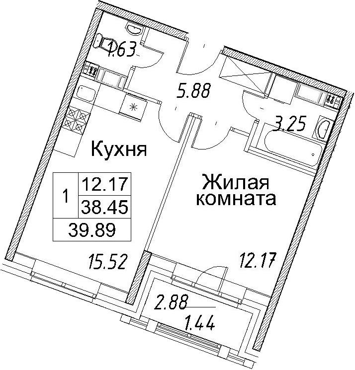 2-к.кв (евро), 41.33 м²