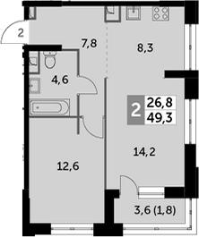 2-к.кв (евро), 51.1 м²