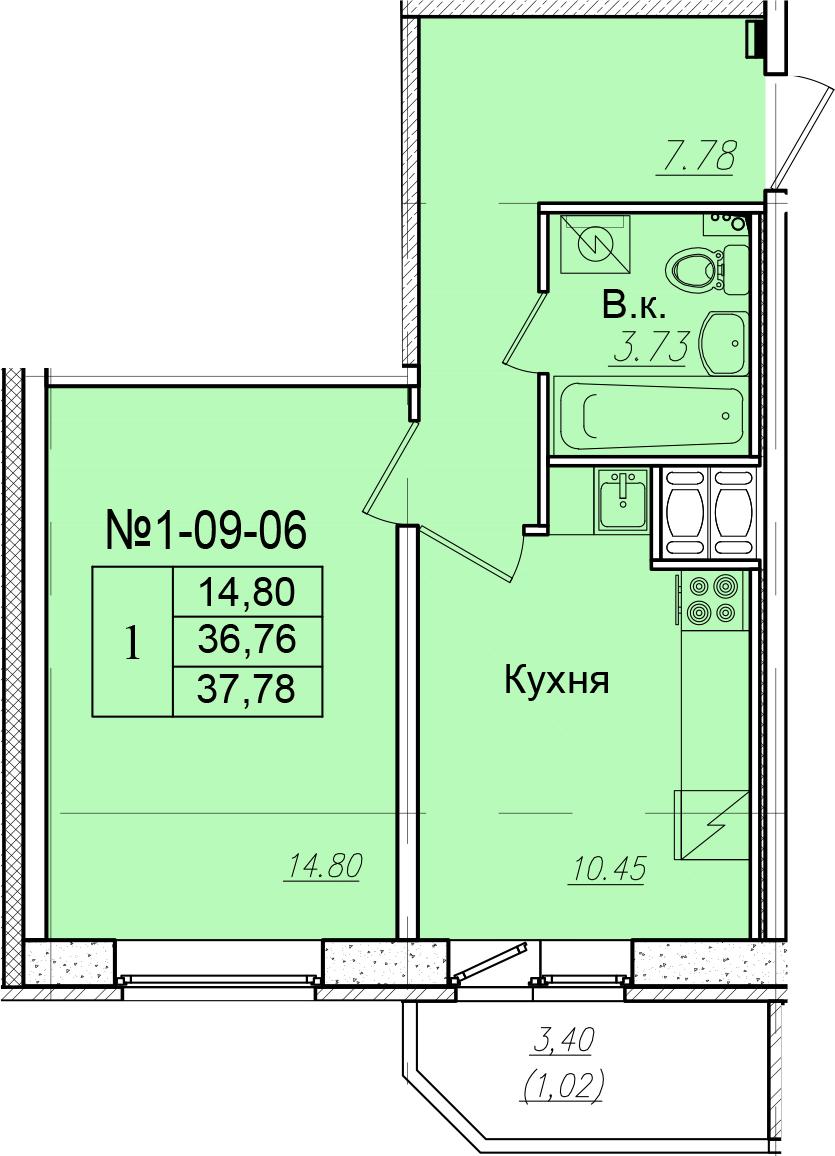 1-к.кв, 40.16 м²