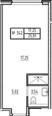 Студия, 25.81 м²