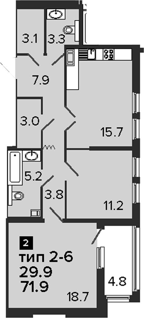 2-к.кв, 71.9 м², 6 этаж