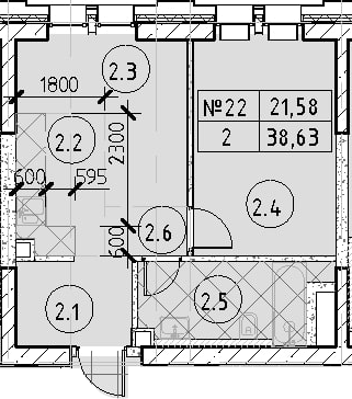 1-к.кв, 38.63 м²