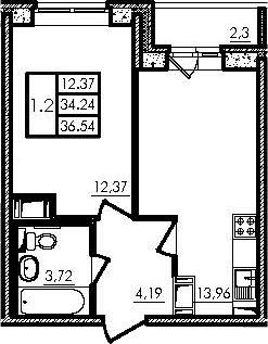 2Е-к.кв, 34.24 м², 18 этаж