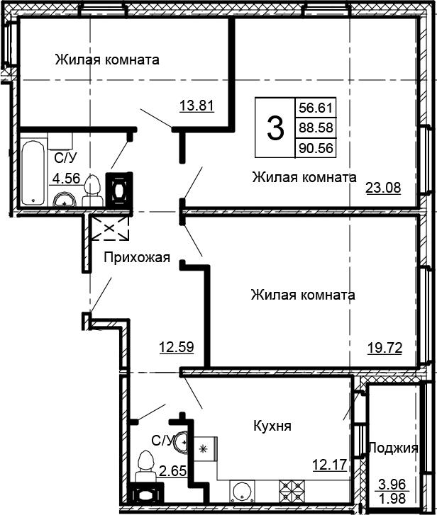 3-к.кв, 90.56 м²
