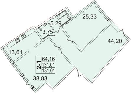 2-к.кв, 131.01 м²