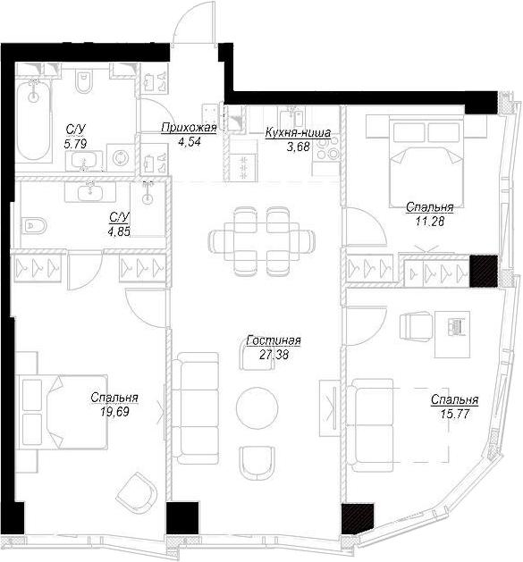 4Е-комнатная, 92.99 м²– 2