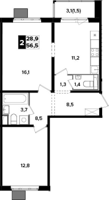 2-к.кв, 56.5 м², 6 этаж