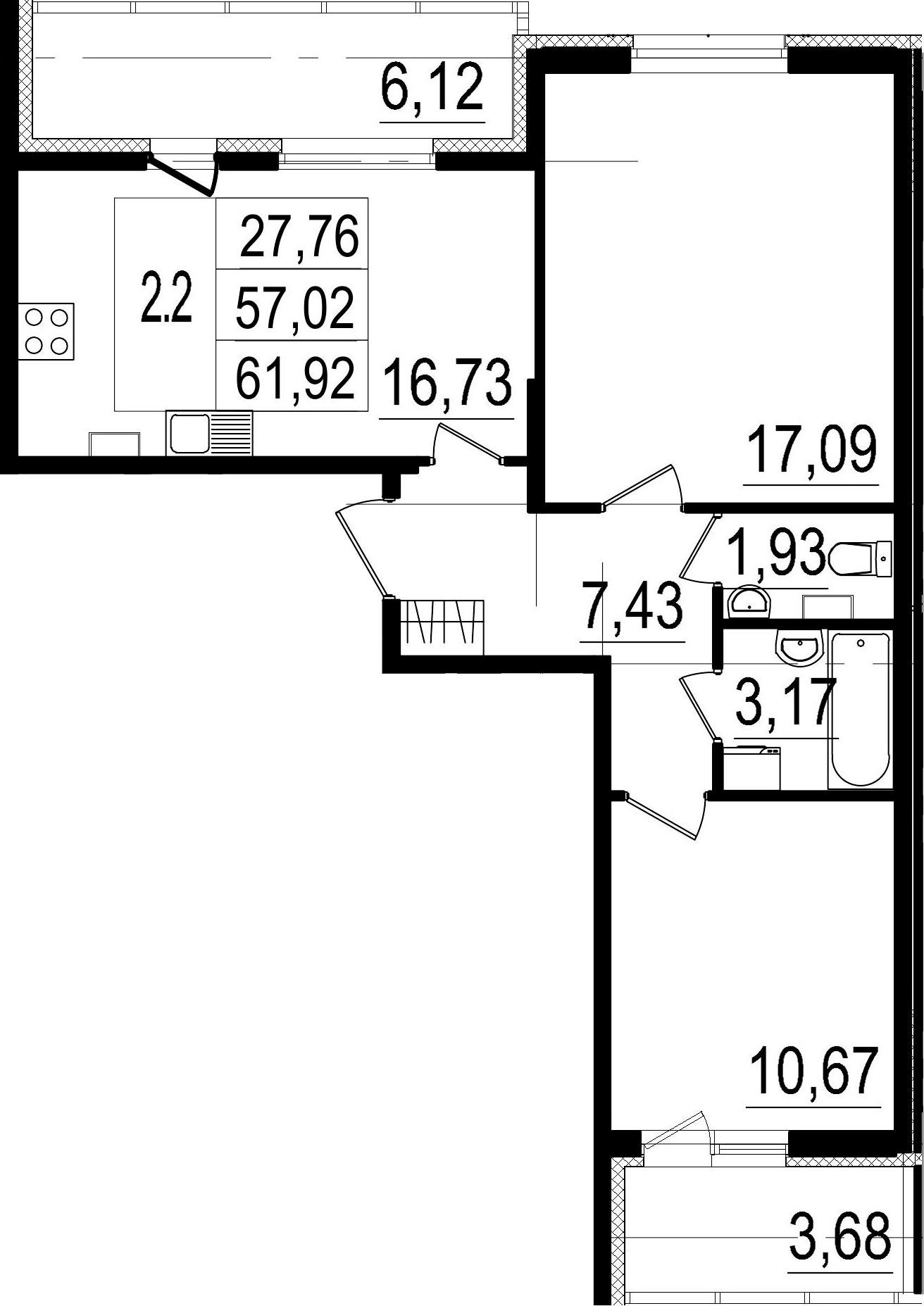 3-к.кв (евро), 66.82 м²