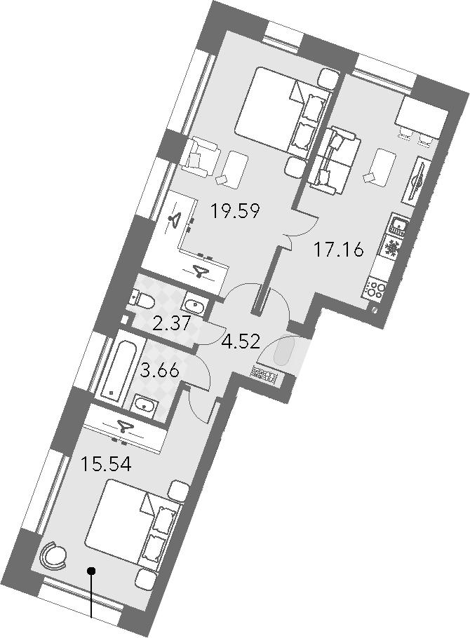 3Е-комнатная, 62.84 м²– 2