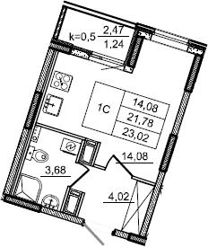 Студия, 23.02 м², от 11 этажа