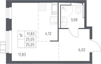 Студия, 25.05 м², от 12 этажа