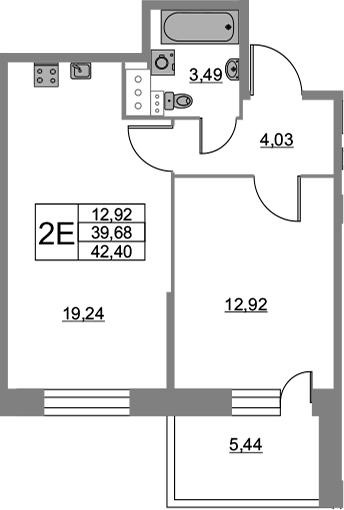 2Е-к.кв, 42.4 м², 5 этаж