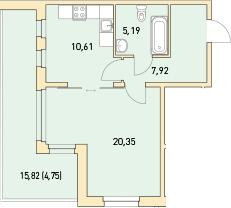 1-к.кв, 48.82 м²