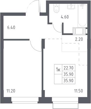 2Е-к.кв, 35.9 м², 4 этаж