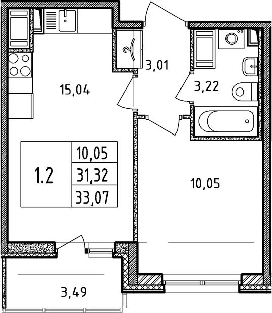 2-к.кв (евро), 34.81 м²