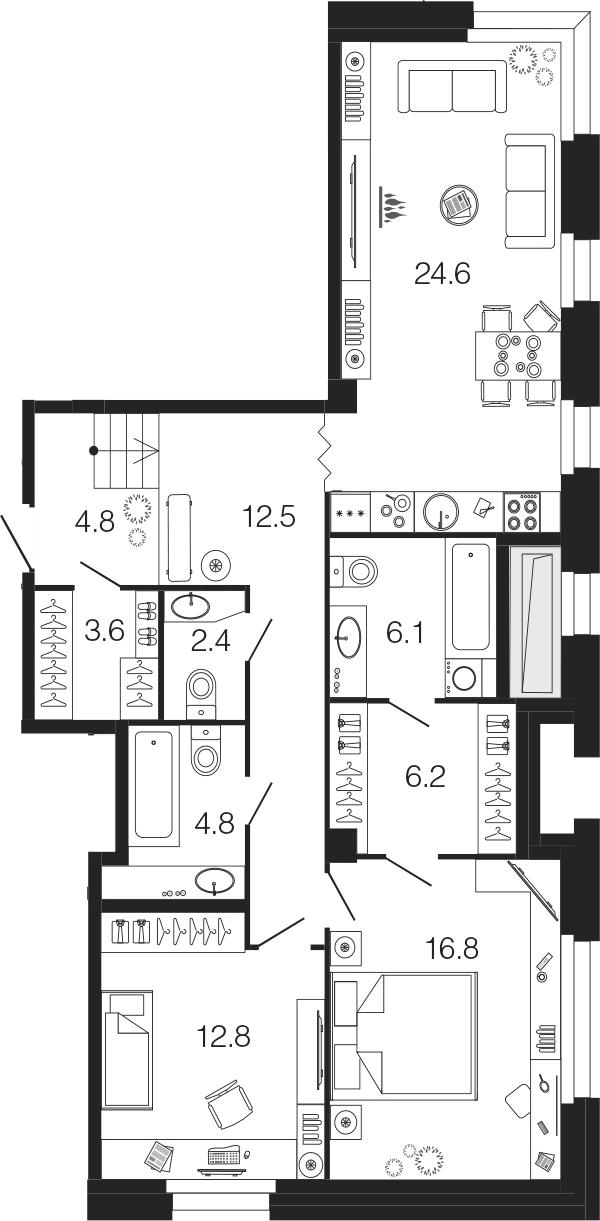 3Е-к.кв, 94.6 м²