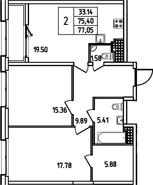 3Е-комнатная, 77.05 м²– 2