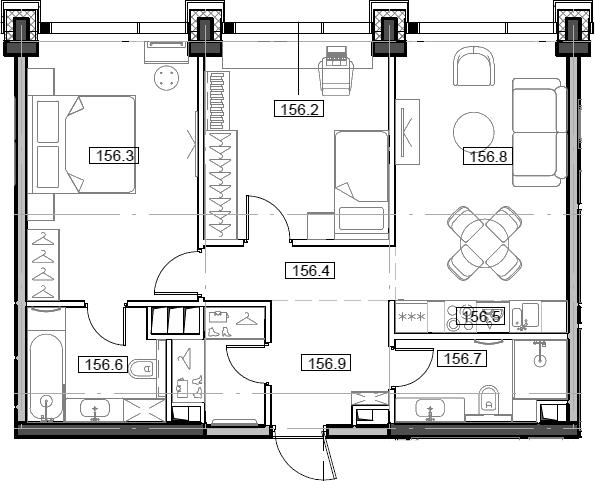 3Е-комнатная, 65.25 м²– 2