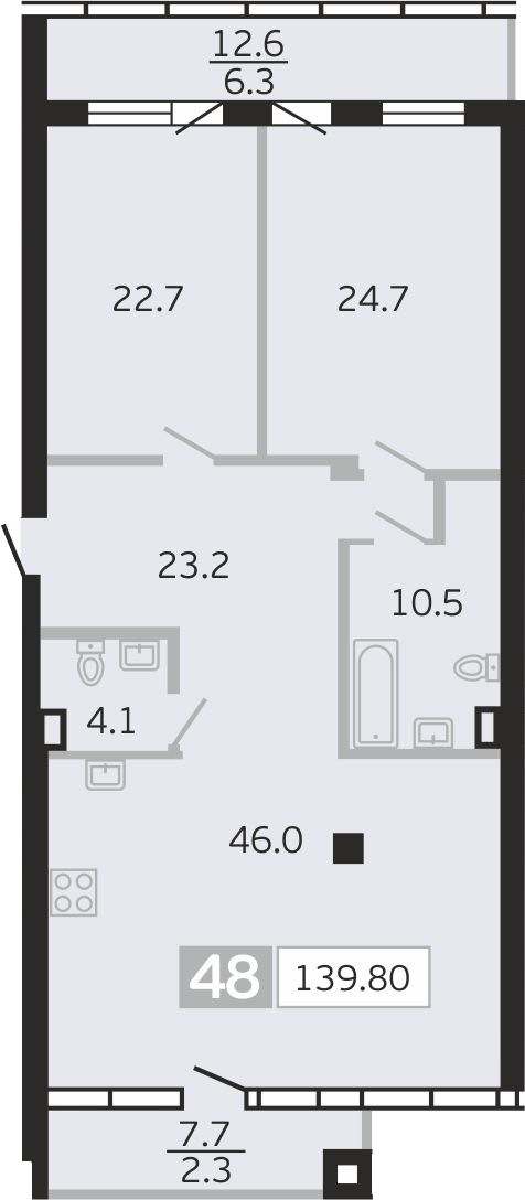 3Е-к.кв, 139.8 м²
