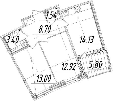 2-к.кв, 56.59 м²