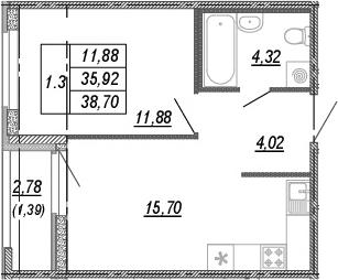 2Е-комнатная, 35.92 м²– 2