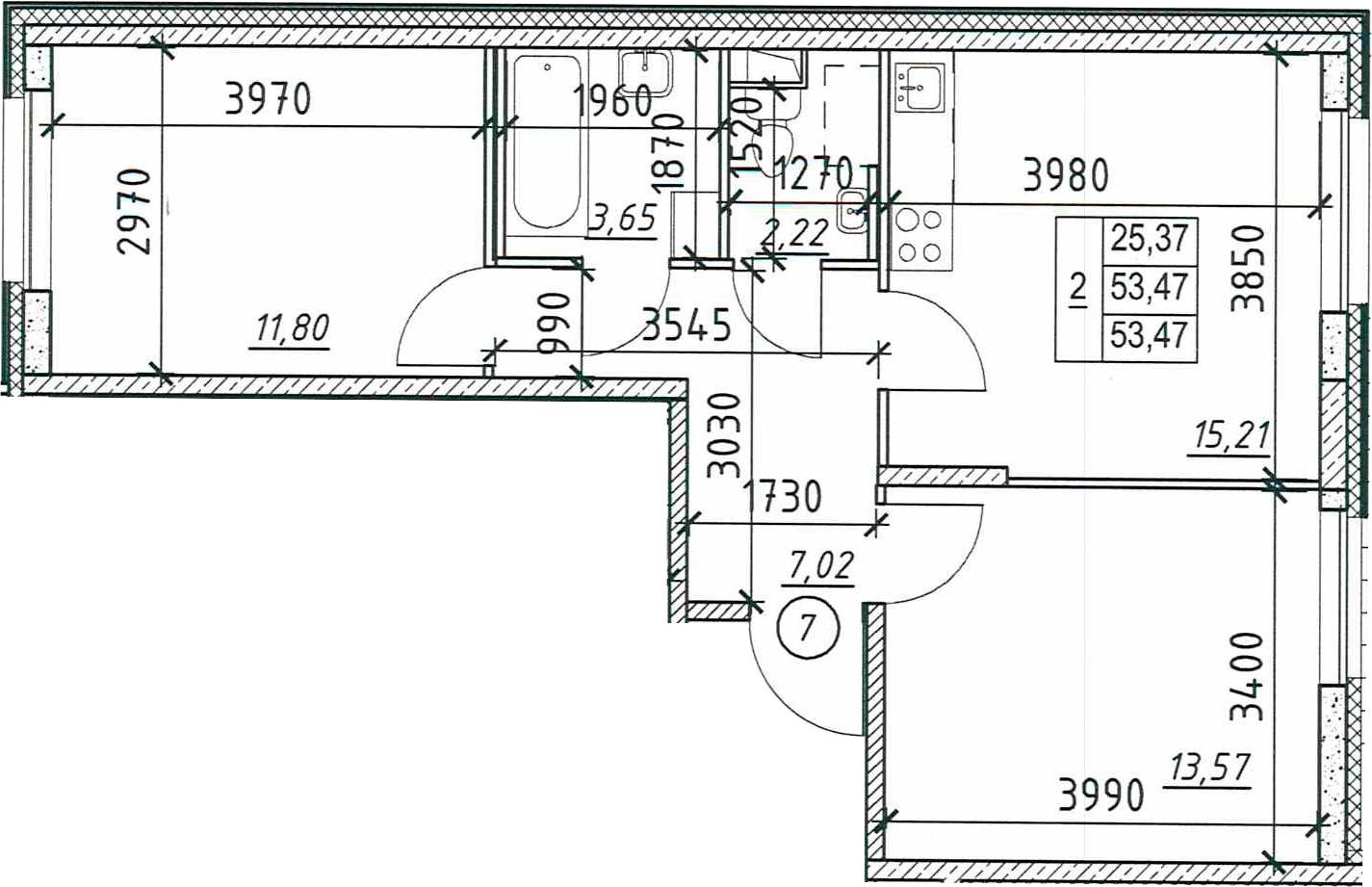 2-к.кв, 53.47 м²