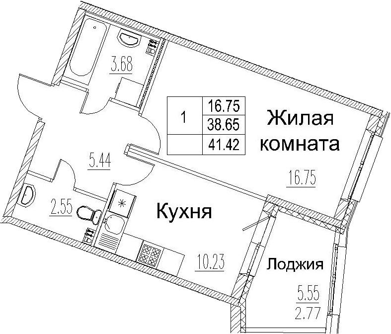 1-к.кв, 41.42 м²
