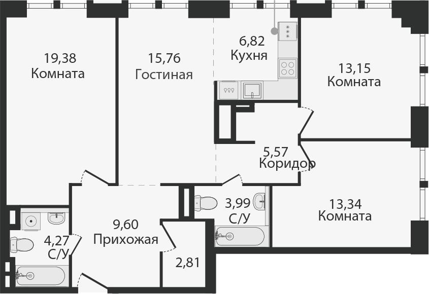 4Е-к.кв, 94.67 м²