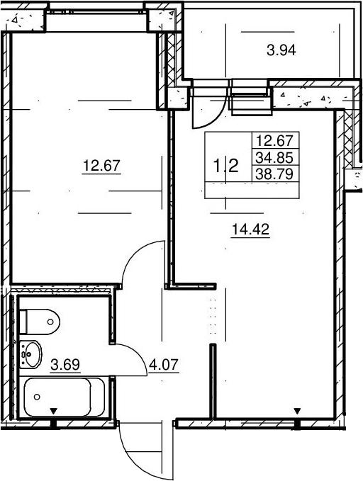 2Е-комнатная, 34.85 м²– 2