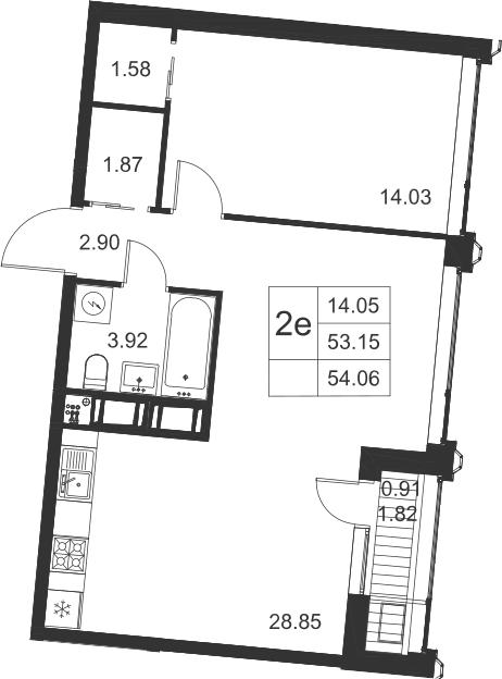 2-к.кв (евро), 54.97 м²