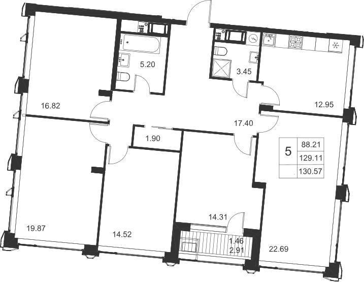 5-к.кв, 132.03 м²
