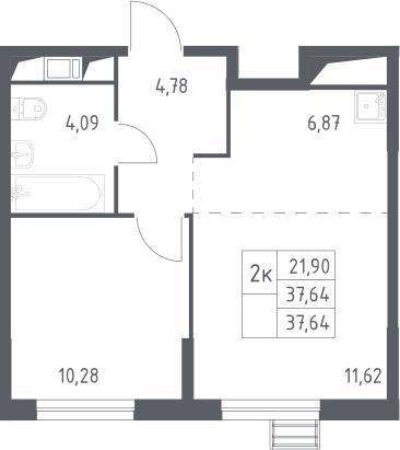 2Е-комнатная, 37.64 м²– 2