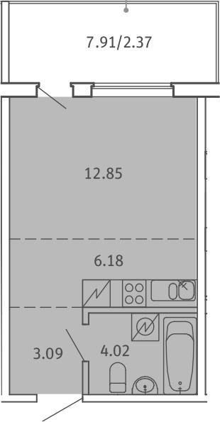 Студия, 28.51 м², от 2 этажа