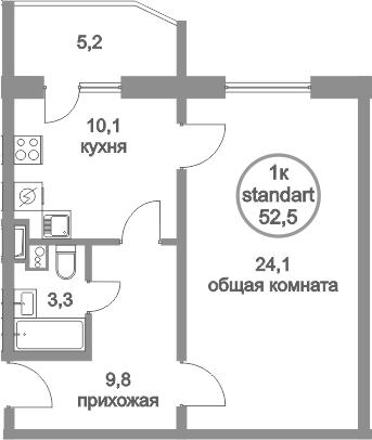 1-к.кв, 57.7 м²