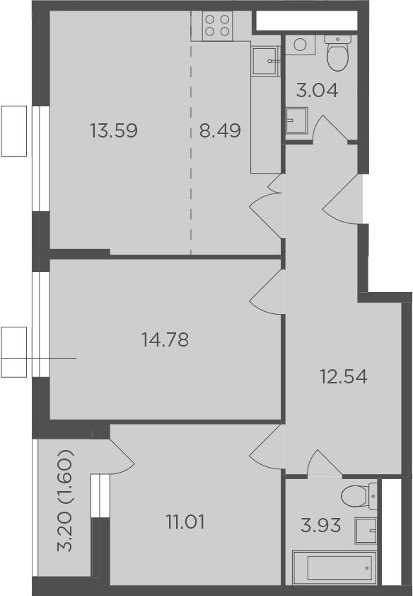 3Е-комнатная, 68.98 м²– 2