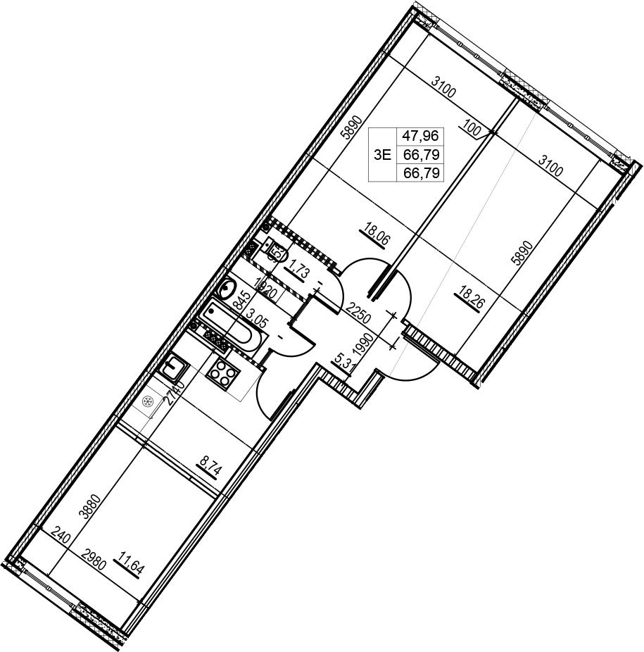 3Е-комнатная, 66.79 м²– 2