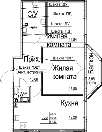 3Е-к.кв, 67.27 м²