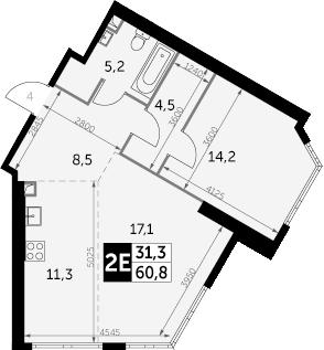 2-к.кв (евро), 60.8 м²