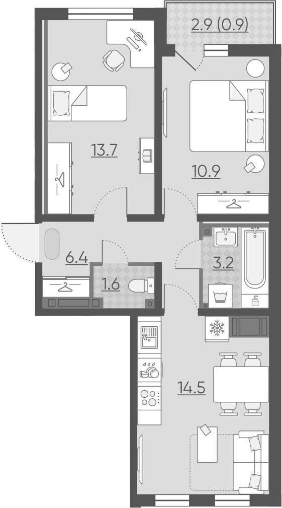 3Е-комнатная, 51.2 м²– 2