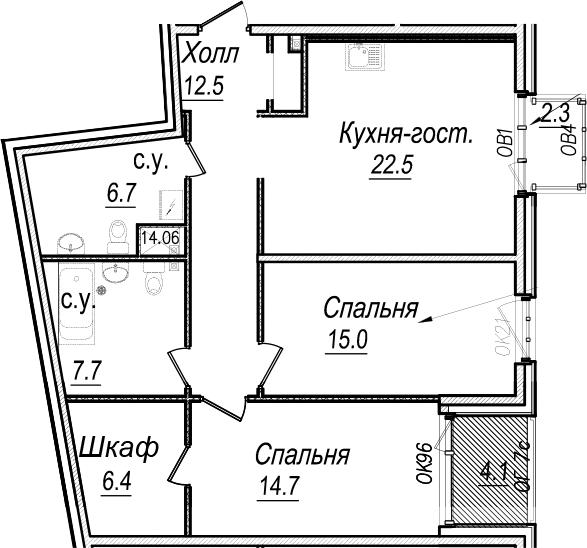3Е-к.кв, 88.2 м², 6 этаж