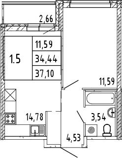2Е-комнатная, 35.77 м²– 2