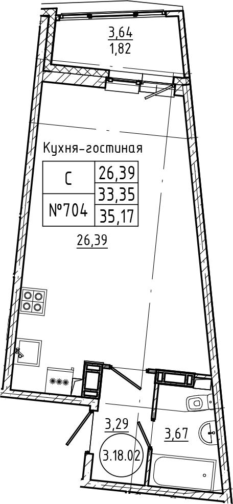 Студия, 35.17 м²– 2