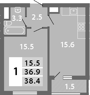 2Е-комнатная, 38.4 м²– 2