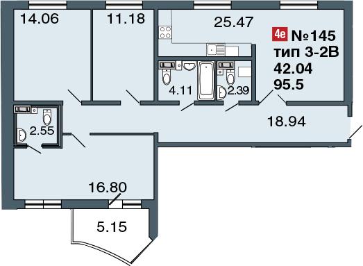 4Е-к.кв, 95.5 м²