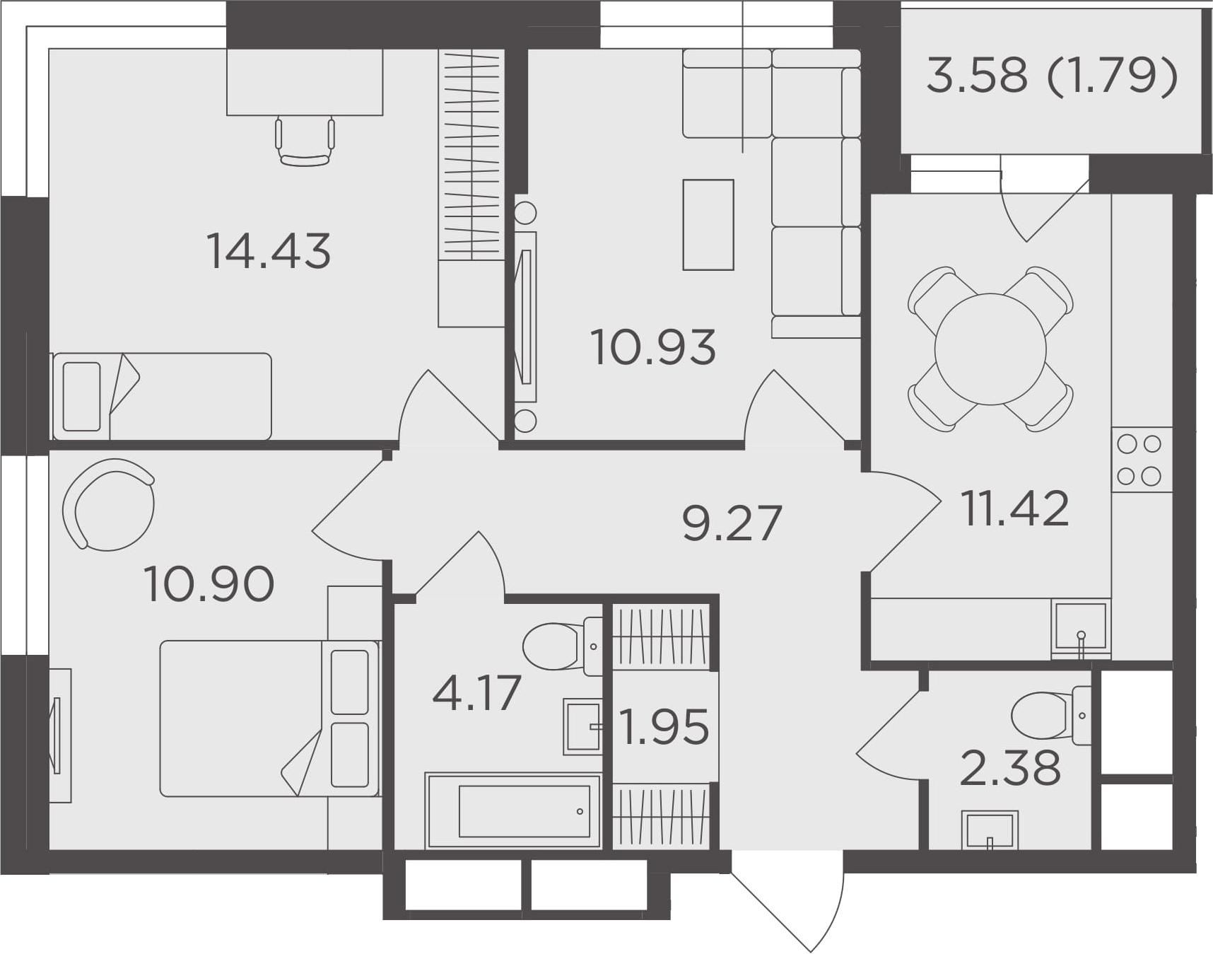 3-к.кв, 67.24 м²
