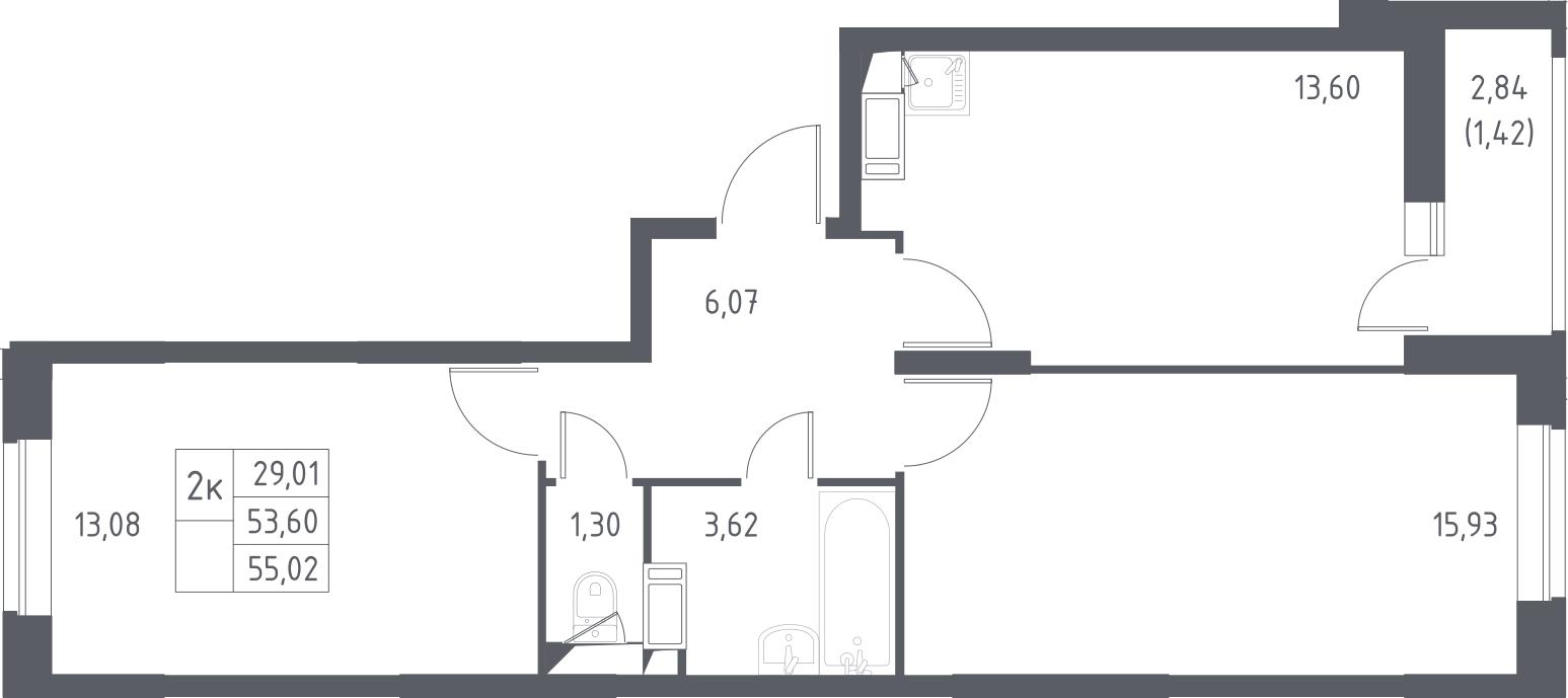 2-комнатная, 55.02 м²– 2