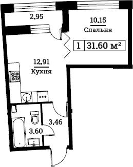 1-к.кв, 31.6 м², 2 этаж