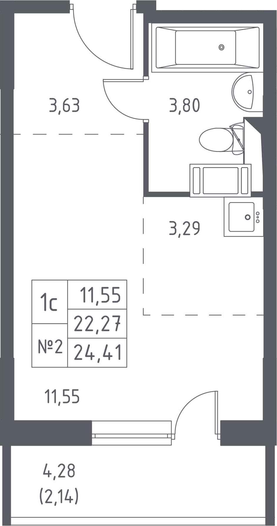Студия, 24.41 м², 3 этаж