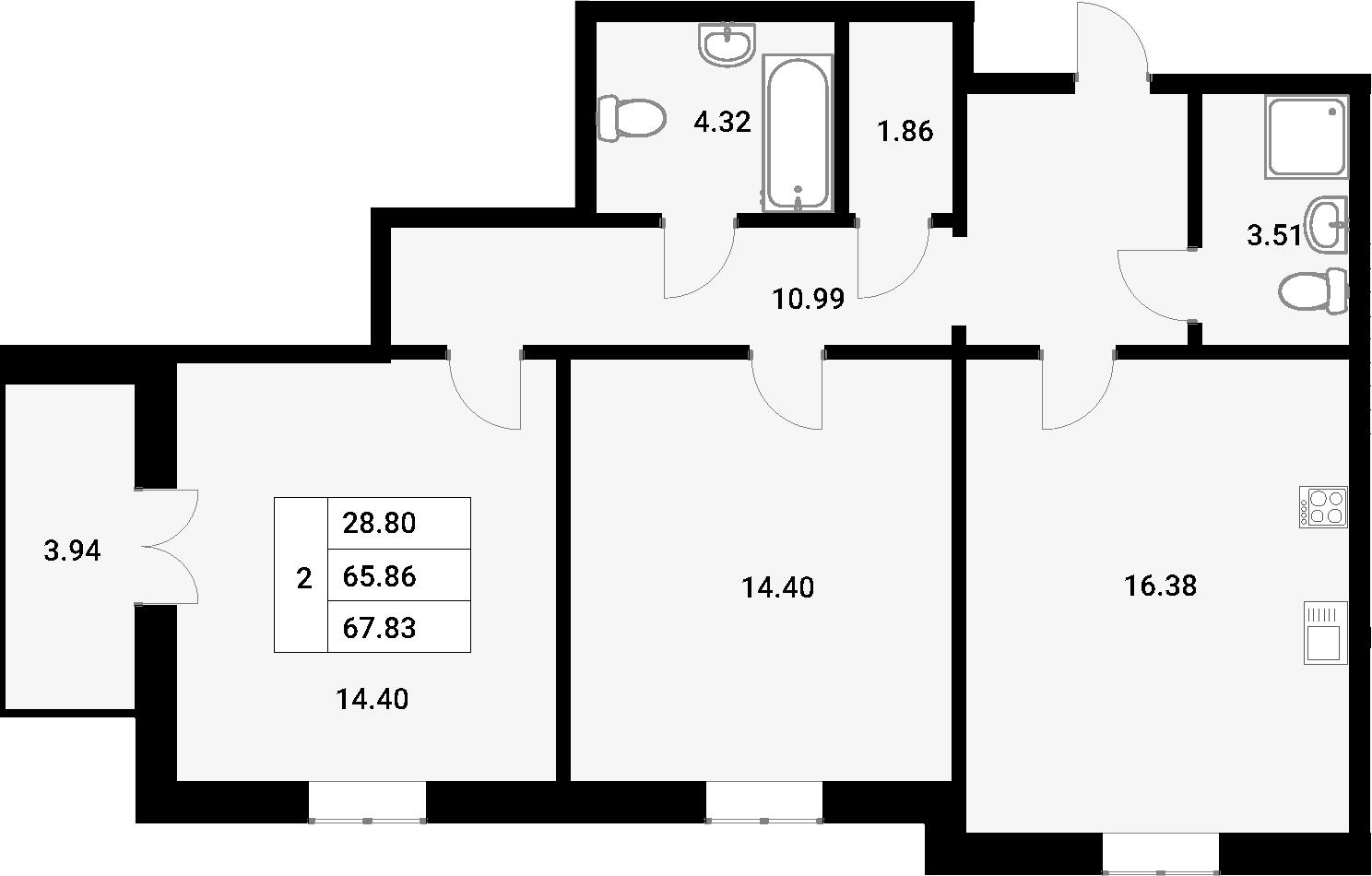 3-к.кв (евро), 69.8 м²